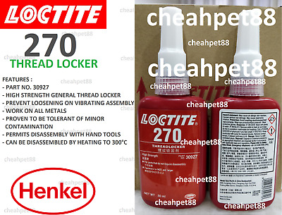 LOCTITE 270 High Strength Green Thread Locker 50ml - Free Shipping