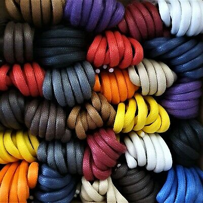 Strong Premium Quality Round Waxed Cotton Boot Laces - 4.5 mm - British made.