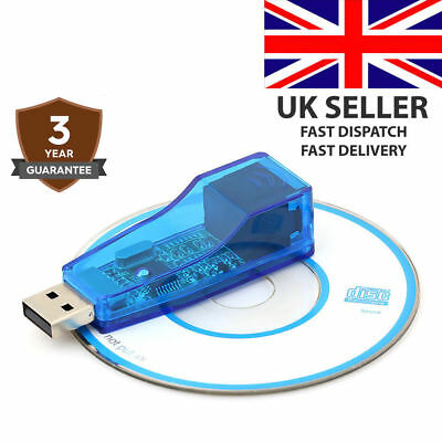 USB 2.0 To LAN RJ45 Ethernet 10/100Mbps Network Card Adapter blue for PC