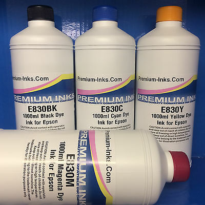 4 x Litre Refill Bottle Ink Epson Printer CISS Black Cyan Magenta Yellow Non OEM
