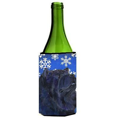 Chow Chow Winter Snowflakes Holiday Wine bottle sleeve Hugger 24 oz.