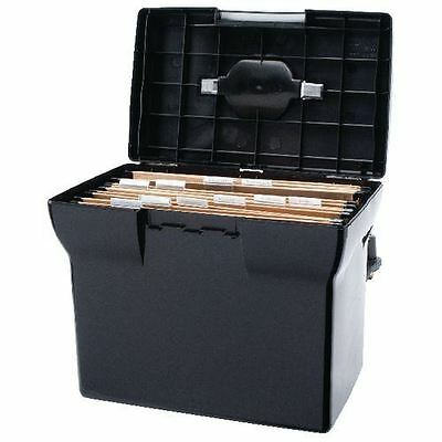 Plastic File Box | Black | With 5 A4 suspension files