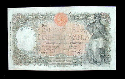 1915 Italy RARE R4 Banknote 50 Lire BUOI F+ MB+ good quality first date