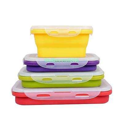 Portable Silicone Collapsible Lunch Box Retractable Picnic Food Fruit Container