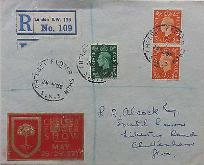 Great Britain 1938 Registered Cover With Chelsea Flower Show Postmark & Label