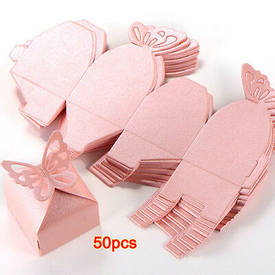 50XButterfly Decoration Boite a Dragees Wedding Decoration Baptism Birth Rose FK