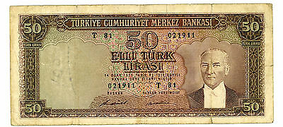 Turkey ... P-187A ...  50 Lirasi ... L.1970(1971) ...  *F*