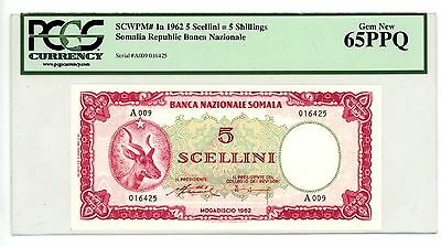 Somalia … P-1a … 5 Shillings … 1962 … *Gem New* … 65 PPQ