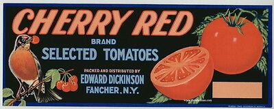 CHERRY RED Vintage Fancher Tomato Crate Label, Robin Bird, **AN ORIGINAL LABEL**