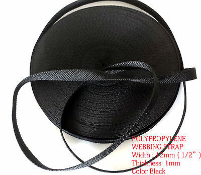"12mm (1/2"") BLACK polypropylene webbing Strap Tape Lanyards DIY bag nylon-25 MTR"