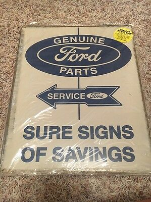 Ford Genuine Parts Service Metal Advertising Sign 12x15""