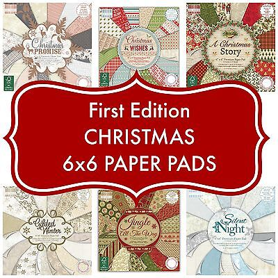 FIRST EDITION 6x6 PAPER - FESTIVE CHRISTMAS FULL PADS - 64 SHEETS - 200GSM