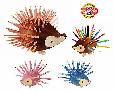 Wooden Hedgehog Pencil Holder Set Organiser Stand 9960 Crayon Kids Koh-I-Noor