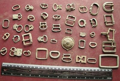 Authentic Ancient Artifact > Lot of 57 Uncleaned Bronze Buckles   9801