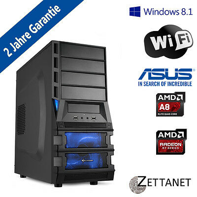 Gamer PC Quadcore 4 x 3,80*GHz 8GB 1000GB  Windows 7, 8.1 oder 10 Pro W-LAN