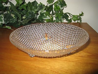 Vintage Hobnail Clear Glass Round Candy Nut Dish 3 Footed