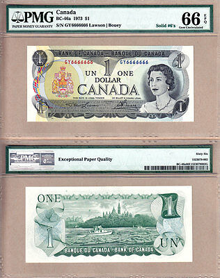 1973 $1 Bank of Canada Multi Color Solid Serial# Note 6666666 NICE PMG GEM UNC66
