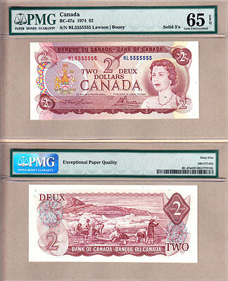 1974 $2 Bank of Canada Multi Color Solid Serial# Note RL5555555 PMG GEM UNC65