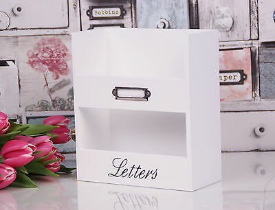 White Wooden Shabby chic Letter Bill Rack Organiser File Office Wall Mounted