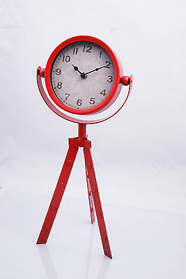 Metal Clock Stand Vintage Antique Style Distressed Desk Table Decor