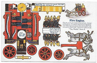 Paper Doll Toy Cutout Postcard Fire Engine No. 3213~98220
