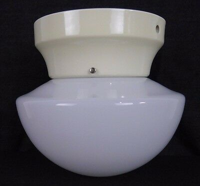 "Antique Vintage Light Fixture Porcelain Base w/ Milkglass 12"" Shade Schoolhouse"