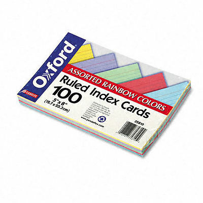 NEW SEALED 100-Pack Oxford Index Cards Assorted Colors 5 x 8 Ruled Notes 35810