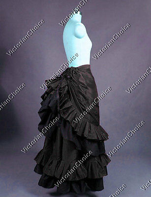Victorian Edwardian Black Bustle Satin Skirt Steampunk Punk Theater Costume K034