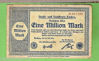 1923  GERMANY  1  MILLION  MARK  BANKNOTE  No. 067109