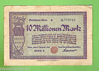 1923  GERMANY  10  MILLION  MARK  BANKNOTE  No. 772710