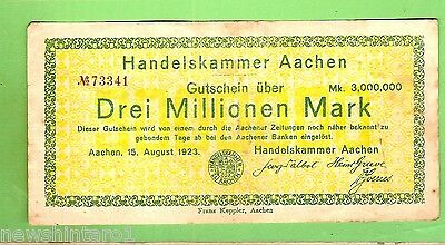 1923  GERMANY  3  MILLION  MARK  BANKNOTE  No. 73341