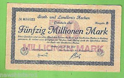 1923  GERMANY  50  MILLION  MARK  BANKNOTE  No. 034422