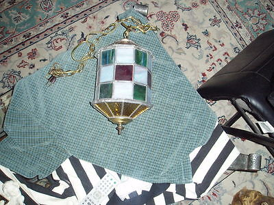 Vintage Hand Made Stained Glass 10 Sided Swag Light Fixture (Needs Cord) !