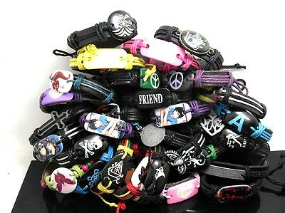 30 mix leather friendship wish PEACE bracelets wholesale jewelry lots