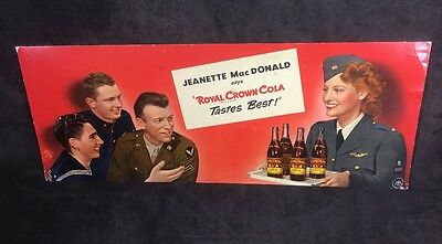 Royal Crown Cola WW2 Jeanette MacDonald Cardboard Advertising Dated 1943 / WWII