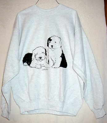 Pair of OLD ENGLISH SHEEPDOG PUPPIES Coming&Going SWEATSHIRT / Unisex X-Large