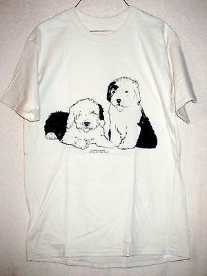 Pair of OLD ENGLISH SHEEPDOG PUPPIES Coming&Going T-shirt / Adult Unisex Sizes