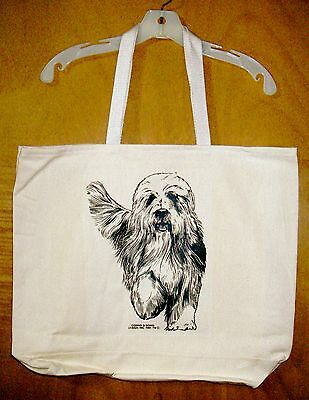 BEARDED COLLIE / Coming&Going 100% Cotton Canvas XL Tote Bag