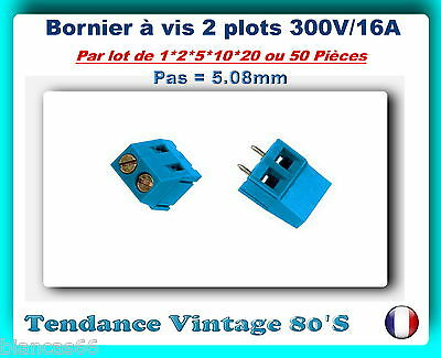 *** Lot De 1*2*5*10*20 Ou 50 Borniers A Vis 2 Contacts 300V/16A ***