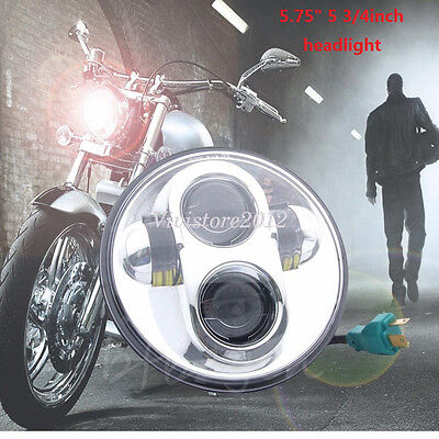 "For Harley 5.75"" 5-3/4"" Motorcycle Chrome DOT Daymaker Projector LED Headlight"