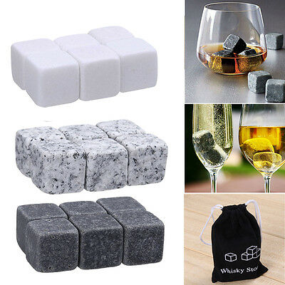 6pcs Whisky Ice Stones Drinks Cooler Cubes Whiskey Scotch Rocks Granite w/ Bag