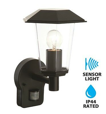 Modern Black IP44 PIR Motion Sensor Outdoor Lantern Wall Light Garden Porch NEW