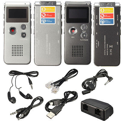 8GB 150HR. Digital Audio Voice Recorder Rechargeable Dictaphone MP3 Player