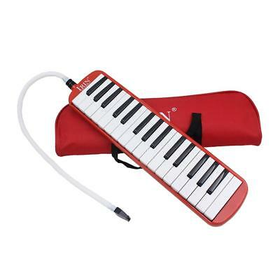 Red 32 Key Melodica Piano Keyboard Style Wind Musical Instrument w/ Bag
