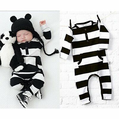 Newborn Infant Baby Boy Girl Kids Warm Romper Jumpsuit Bodysuit Clothes Outfits