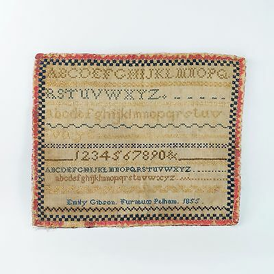 Antique 19th Century Miniature Sampler Emily Gibson Dated 1855 of Furneux Pelham