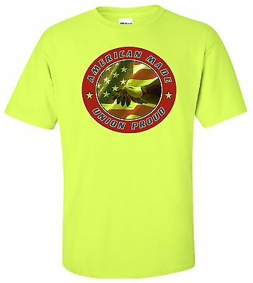 Safety green hi vis construction ANSI American Made Union Proud short sleeve