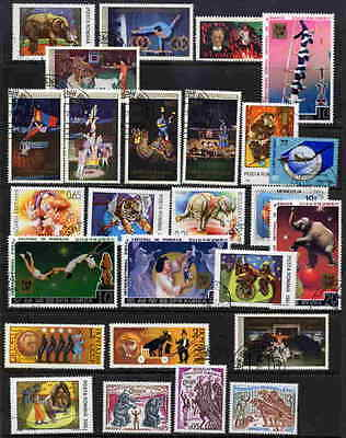 Circus On Postage Stamps - 25 Different - No Duplicates!