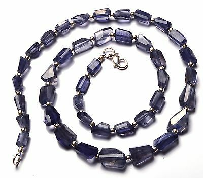Natural Gemstone Iolite Step Cut Faceted Nugget Beads Necklace 19 Inch 140Cts.