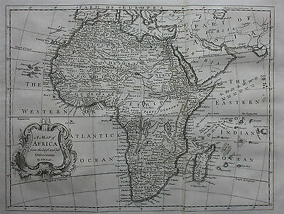 Uncommon original antique map, AFRICA, R.W. Seale, Churchill's Voyages, 1744